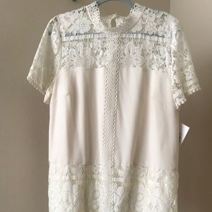 Kensie Striped Floral Lace Dress NWT - Cream/XL